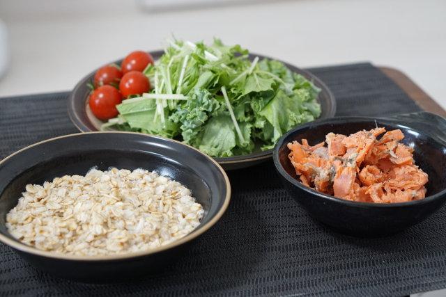 鮭チーズ焼きと和風オートミール粥の最強定食