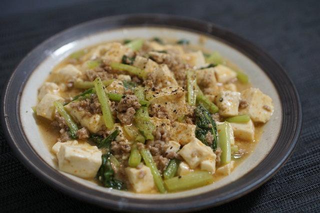小松菜たっぷり家味噌で作る麻婆豆腐