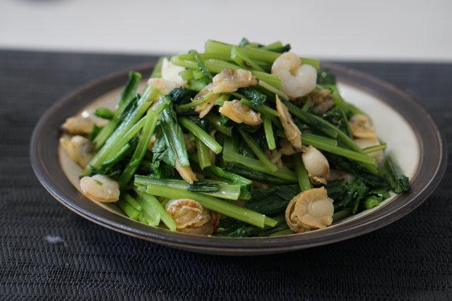 小松菜と海鮮塩焼きそば