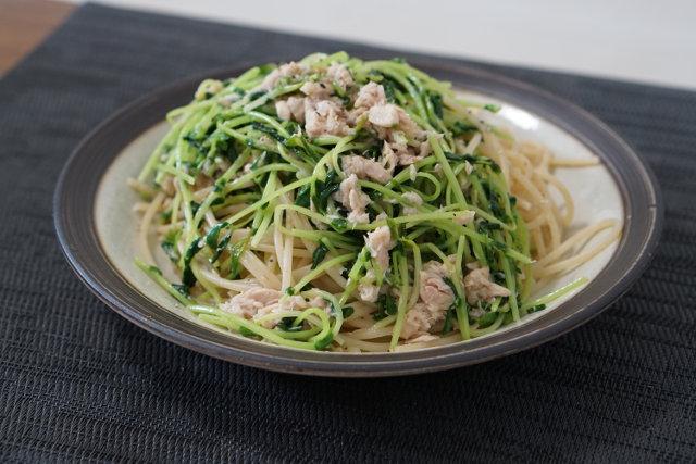 水菜とツナのごま和風パスタ